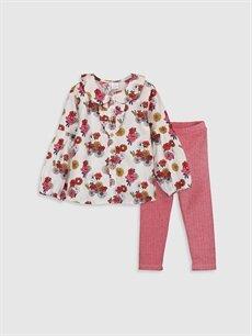 Ekru Kız Bebek Desenli Gömlek ve Tayt 9WN141Z1 LC Waikiki