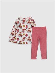 %100 Pamuk %68 Polyester %32 Viskon  Kız Bebek Desenli Gömlek ve Tayt