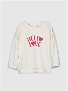 Ekru Kız Bebek Slogan Baskılı Sweatshirt 9WN336Z1 LC Waikiki
