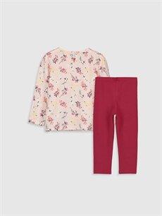 %100 Pamuk  Kız Bebek Desenli Tişört ve Tayt 2'li
