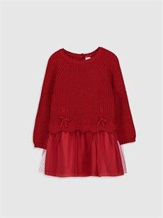 Kırmızı Kız Bebek Triko Elbise 9WN503Z1 LC Waikiki