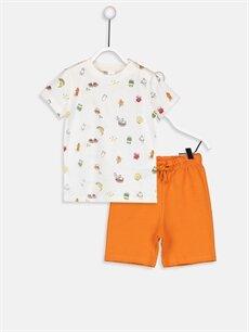Turuncu Erkek Bebek Pamuklu Tişört ve Şort 9WN971Z1 LC Waikiki