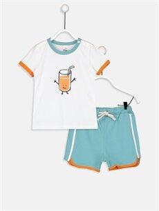 Ekru Erkek Bebek Baskılı Tişört ve Şort 9WN972Z1 LC Waikiki