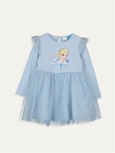 Mavi Kız Bebek Elsa Baskılı Elbise 9WO277Z1 LC Waikiki