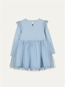 %100 Pamuk %100 Pamuk Desenli Kız Bebek Elsa Baskılı Elbise