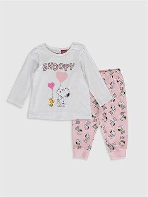 Kız Bebek Snoopy Baskılı Pijama Takımı - LC WAIKIKI