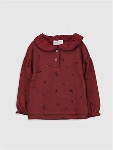 Bordo Kız Bebek Desenli Sweatshirt 9WP002Z1 LC Waikiki