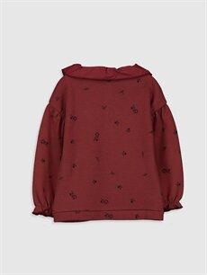 %100 Pamuk  Kız Bebek Desenli Sweatshirt