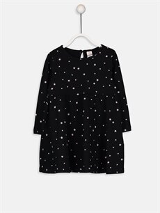 Siyah Kız Bebek Desenli Elbise 9WP068Z1 LC Waikiki