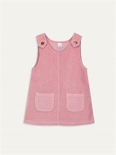 Pembe Kız Bebek Kadife Elbise 9WP119Z1 LC Waikiki