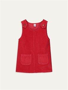 Kırmızı Kız Bebek Kadife Elbise 9WP119Z1 LC Waikiki
