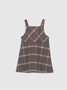 %72 Polyester %27 Viskoz %1 Elastan Ekoseli Kız Bebek Ekose Elbise