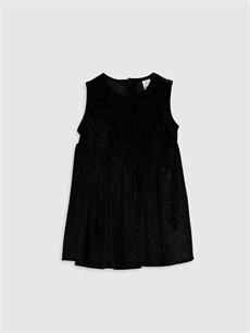 Siyah Kız Bebek Kadife Elbise 9WP647Z1 LC Waikiki