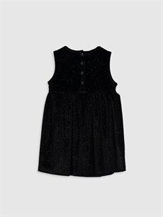 %93 Polyester %7 Elastan Düz Kız Bebek Kadife Elbise