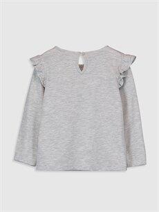 %47 Pamuk %53 Polyester Baskılı Uzun Kol Tişört Bisiklet Yaka Standart Kız Bebek Minnie Mouse Baskılı Tişört
