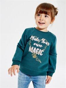 Kız Bebek Kız Bebek Yazı Baskılı Sweatshirt
