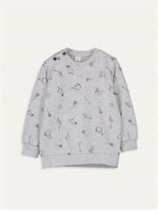 Antrasit Erkek Bebek Baskılı Sweatshirt 9WQ626Z1 LC Waikiki