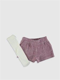 Mor Kız Bebek Flanel Şort ve Külotlu Çorap 9WQ770Z1 LC Waikiki