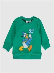 Yeşil Erkek Bebek Donald Duck Desenli Sweatshirt 9WR017Z1 LC Waikiki