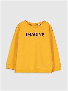 Turuncu Kız Bebek Yazı Baskılı Sweatshirt 9WR046Z4 LC Waikiki