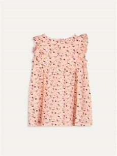 %100 Pamuk Diz Üstü Desenli Kız Bebek Desenli Elbise