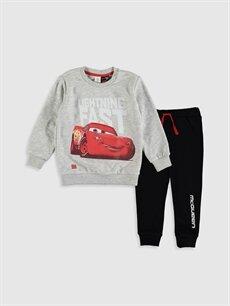 Bej Erkek Bebek Arabalar Baskılı Sweatshirt ve Pantolon 9WR316Z1 LC Waikiki