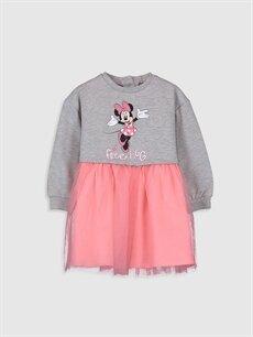 Gri Kız Bebek Minnie Mouse Baskılı Elbise 9WR506Z1 LC Waikiki
