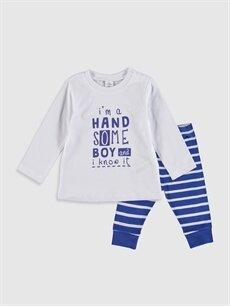 Beyaz Erkek Bebek Baskılı Pamuklu Pijama Takımı 9WS433Z1 LC Waikiki