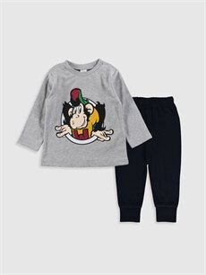 Gri Erkek Bebek Nostaljik Maymun Baskılı Pijama Takımı 9WS854Z1 LC Waikiki