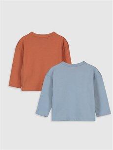 %100 Pamuk Normal Baskılı Uzun Kol Tişört Bisiklet Yaka Erkek Bebek Baskılı Tişört 2'li