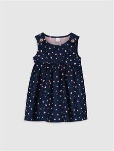 Lacivert Kız Bebek Pamuklu Desenli Elbise 9WT306Z1 LC Waikiki