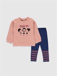 Mercan Kız Bebek Desenli Sweatshirt ve Tayt 9WT626Z1 LC Waikiki