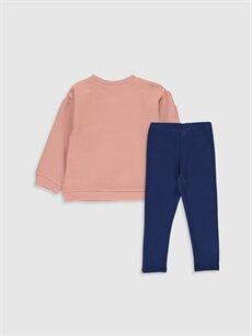%100 Pamuk  Kız Bebek Desenli Sweatshirt ve Tayt
