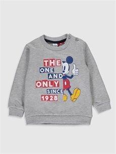 Bej Erkek Bebek Mickey Mouse Baskılı Sweatshirt 9WT833Z1 LC Waikiki