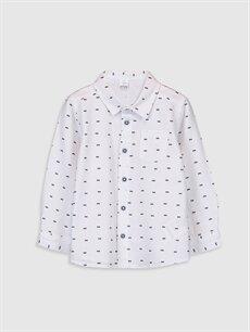 Lacivert Erkek Bebek Desenli Oxford Gömlek 9WT834Z1 LC Waikiki