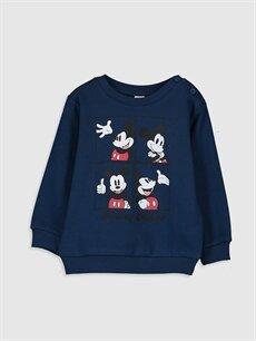 Lacivert Erkek Bebek Mickey Mouse Baskılı Sweatshirt 9WT836Z1 LC Waikiki