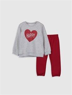 Gri Kız Bebek Sweatshirt ve Pantolon 9WU381Z1 LC Waikiki