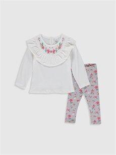 Ekru Kız Bebek Pamuklu Baskılı Tişört ve Tayt 9WU439Z1 LC Waikiki
