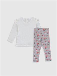 %100 Pamuk  Kız Bebek Pamuklu Baskılı Tişört ve Tayt