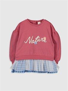 Pembe Kız Bebek Yazı Baskılı Sweatshirt 9WV475Z1 LC Waikiki
