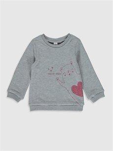 Gri Kız Bebek Baskılı Sweatshirt 9WY400Z1 LC Waikiki