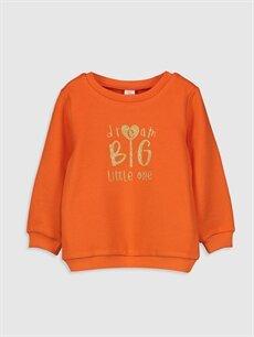 Turuncu Kız Bebek Baskılı Sweatshirt 9WY400Z1 LC Waikiki