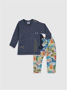 Turuncu Luggi Baby Yenidoğan Desenli Tişört ve Pantolon 9WB839Z1 LC Waikiki