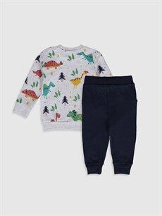 Luggi Baby Yenidoğan Baskılı Sweatshirt ve Pantolon