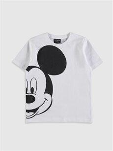 Beyaz Erkek Çocuk Mickey Mouse Baskılı Pamuklu Tişört 0S1345Z4 LC Waikiki