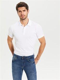 Beyaz Düz Kısa Kollu Polo Tişört 0S1778Z8 LC Waikiki