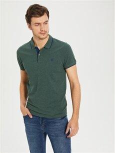 %60 Pamuk %40 Polyester Standart Düz Kısa Kol Tişört Polo Düz Kısa Kollu Polo Tişört