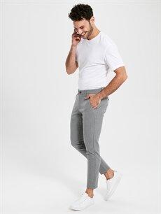 %64 Polyester %2 Elastan %34 Viskon Dar Normal Bel Pilesiz Pantolon Slim Fit Chino Pantolon