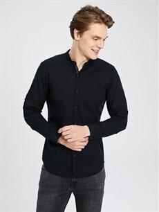 Siyah Ekstra Slim Fit Uzun Kollu Pamuklu Gömlek 0S2480Z8 LC Waikiki