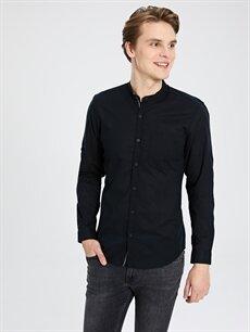 %100 Pamuk Uzun Kol Düz En Dar Gömlek Düğmeli Ekstra Slim Fit Uzun Kollu Pamuklu Gömlek